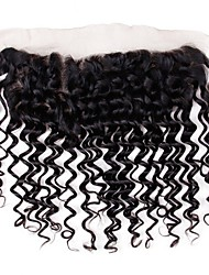 cheap -1 Bundle Brazilian Hair Deep Curly Virgin Human Hair 80 g Wig Accessories Hair Weft with Closure 8-20 inch Natural Color Human Hair Weaves Creative Stress and Anxiety Relief New Arrival Human Hair