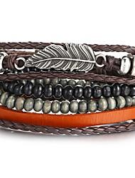 cheap -4pcs Men's Leather Bracelet Retro Plaited Wrap Feather Unique Design Hip-Hop PU(Polyurethane) Bracelet Jewelry Black For Gift Daily