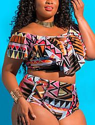 cheap -Women's Sporty Basic Boho Black Rainbow Halter Thong Cheeky High Waist Tankini Swimwear - Solid Colored Floral Racerback Ruffle XXXL XXXXL XXXXXL Black