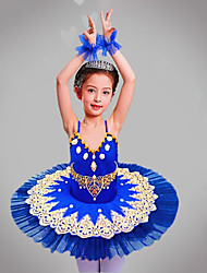 cheap -Kids' Dancewear / Ballet Outfits / Tutus & Skirts Girls' Training / Performance Polyester / Mesh Beading / Embroidery / Split Joint Sleeveless Dress / Bracelets