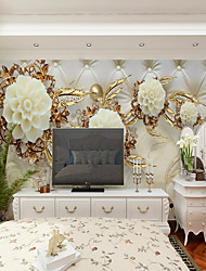 cheap -Wallpaper / Mural / Wall Cloth Canvas Wall Covering - Adhesive required Floral / Art Deco / 3D