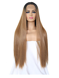 cheap -Synthetic Lace Front Wig Silky Straight Middle Part Lace Front Wig Long Ombre Black / Medium Auburn Synthetic Hair 24 inch Women's Adjustable Heat Resistant Women Brown