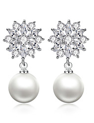 cheap -Women's White Pearl Drop Earrings Classic Flower Stylish Luxury Trendy Romantic Pearl Earrings Jewelry White For Party Gift Date 1 Pair
