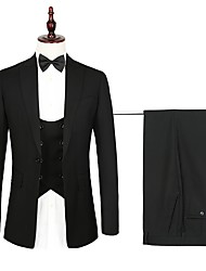 cheap -Navy / Black Solid Colored Standard Fit Polyester Suit - Peak Single Breasted One-button / Suits