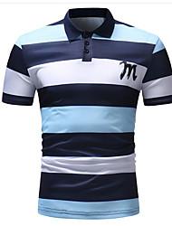 cheap -Men's Striped Polo - Cotton Shirt Collar Blue / Blushing Pink / Summer / Short Sleeve