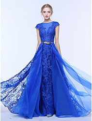 cheap -A-Line Jewel Neck Court Train Lace / Tulle Elegant & Luxurious / See Through Formal Evening / Holiday Dress with Beading / Appliques / Sash / Ribbon 2020