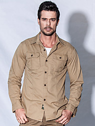 cheap -Men's Solid Color Hiking Shirt / Button Down Shirts Long Sleeve Outdoor Breathable Quick Dry Softness Multi Pocket Shirt Top Autumn / Fall Spring Cotton Army Green Khaki Cycling / Bike Traveling