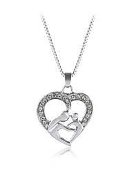 cheap -Women's Pendant Necklace Heart Sweet Fashion Modern Zircon Chrome Silver 45+5 cm Necklace Jewelry 1pc For Gift Daily Festival