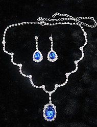 cheap -Sapphire Crystal Jewelry Set Pendant Necklace Tassel Solitaire Oval Cut Drop Ladies Party Cubic Zirconia Earrings Jewelry White / Blue For
