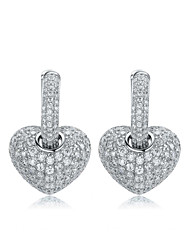 cheap -Women's White Cubic Zirconia Drop Earrings Chandelier Heart Stylish Luxury Cute Platinum Plated Earrings Jewelry White For Party Gift Date 1 Pair