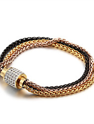 cheap -Men's Women's White Cubic Zirconia Chain Bracelet Link / Chain Precious Simple Classic Vintage Fashion Ancient Rome Rose Gold Bracelet Jewelry Black / Silver / Rose Gold For Christmas Party Gift