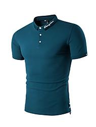 cheap -Men's Cotton Polo - Solid Colored Shirt Collar White