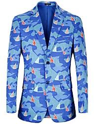 Недорогие -Муж. С принтом Костюмная куртка Активный / Классический Контрастных цветов Синий
