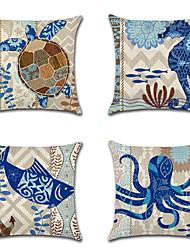 cheap -4 pcs Cotton / Linen Pillow Cover Pillow Case, Wildlife Nautical Beach Style New Arrival