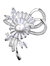 cheap -Women's AAA Cubic Zirconia Brooches Artistic Bridal Pearl Brooch Jewelry Silver For Wedding Party Gift Date Street