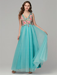 cheap -A-Line Elegant Floral Prom Formal Evening Dress Plunging Neck Sleeveless Floor Length Lace Tulle with Pattern / Print Appliques 2020