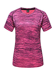 cheap -DZRZVD® Women's Hiking Tee shirt Short Sleeve Outdoor Breathable Quick Dry Fast Dry Sweat-Wicking Tee / T-shirt Top Spring Summer Terylene Crew Neck Running Camping / Hiking Exercise & Fitness Dark