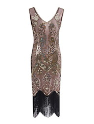 cheap -The Great Gatsby Charleston Vintage 1920s Flapper Dress Party Costume Masquerade Women's Lace Sequins Tassel Sequin Costume Black / Golden / Silver Vintage Cosplay Party Prom Sleeveless