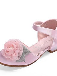 cheap -Girls' Flower Girl Shoes / Tiny Heels for Teens Satin Sandals Toddler(9m-4ys) / Little Kids(4-7ys) / Big Kids(7years +) Pearl / Flower Light Pink / Ivory Summer / Fall / Wedding / Party & Evening