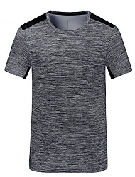 cheap -Men's Hiking Tee shirt Short Sleeve Crew Neck Tee Tshirt Top Outdoor UV Resistant Quick Dry Breathable Autumn / Fall Spring Summer POLY Solid Color Dark Grey Fuchsia Dark Green Camping / Hiking Back