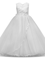 cheap -Princess Long Length Flower Girl Dress - Lace / Tulle Sleeveless Jewel Neck with Appliques / Bow(s) / Tier / First Communion