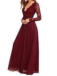 cheap -A-Line Plunging Neck Floor Length Chiffon / Lace Elegant / Plus Size Formal Evening / Wedding Party Dress with Pleats / Lace Insert 2020