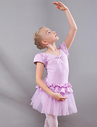 cheap -Kids' Dancewear / Ballet Dresses Girls' Training / Performance Cotton / Mesh Ruching / Split Joint Short Sleeve Natural Dress