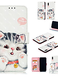 cheap -Case For Apple iPhone XS / iPhone XR / iPhone XS Max Wallet / Card Holder / with Stand Full Body Cases Cat / 3D Cartoon Hard PU Leather
