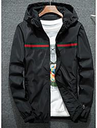 cheap -Men's Daily Basic Fall Regular Jacket, Geometric Shirt Collar Long Sleeve Polyester Black / Navy Blue / Gray