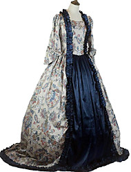 cheap -Queen Elizabeth Vintage Rococo Baroque Victorian Dress Cosplay Costume Women's Costume Ink Blue Vintage Cosplay Floor Length Plus Size Customized