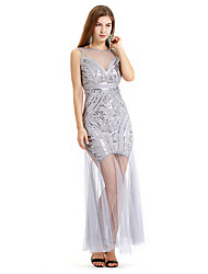 cheap -The Great Gatsby Charleston Retro Vintage 1920s Wasp-Waisted Flapper Dress Dress Women's Sequins Tulle Sequin Costume Black / Golden / Silver Vintage Cosplay Party Ankle Length