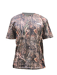 cheap -Men's Camo Hiking Tee shirt Short Sleeve Outdoor Breathable Fast Dry Stretchy Tee / T-shirt Top Spring, Fall, Winter, Summer Terylene Crew Neck Army Green Camouflage Hunting Military / Tactical