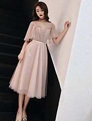 cheap -A-Line Off Shoulder Tea Length Tulle Bridesmaid Dress with Sash / Ribbon / Ruching