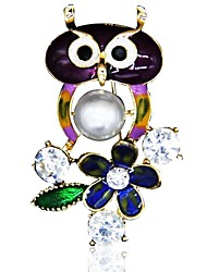 cheap -Women's Brooches Owl Imitation Pearl Rhinestone Brooch Jewelry Gold For Daily