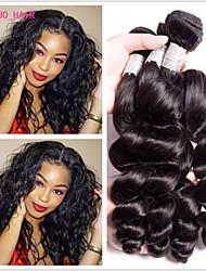 Недорогие -4 Связки Бразильские волосы Свободные волны человеческие волосы Remy Необработанные натуральные волосы 200 g Человека ткет Волосы Пучок волос One Pack Solution 8-28 дюймовый Естественный цвет