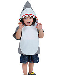 cheap -Shark Cosplay Costume Kid's Boys' Outfits Halloween Halloween Masquerade Festival / Holiday Polyster Beige Carnival Costumes Patchwork