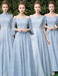 cheap -A-Line V Neck Floor Length Lace Bridesmaid Dress with