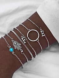 cheap -Women's Chain Bracelet Pendant Bracelet Layered Letter Casual / Sporty Ethnic Fashion Alloy Bracelet Jewelry Silver For Holiday Going out Work