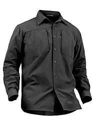 cheap -Men's Hiking Shirt / Button Down Shirts Long Sleeve Outdoor Breathable Quick Dry Multi Pocket Shirt Top Autumn / Fall Spring Nylon Army Green Khaki Camping / Hiking / Caving Back Country