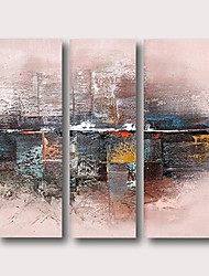 cheap -Oil Painting Hand Painted Abstract Comtemporary Modern Stretched Canvas / Three Panels With Stretched Frame
