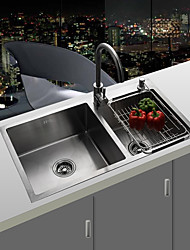 cheap -Kitchen Sink- Stainless Steel Brushed Rectangular Undermount Double Bowl