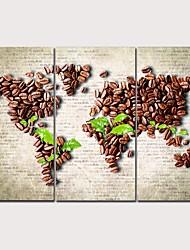 Недорогие -С картинкой Отпечатки на холсте - Виды искусства Кофе Modern 3 панели Репродукции
