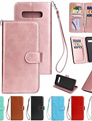 cheap -Case For Samsung Galaxy Galaxy S10 / Galaxy S10 Plus / Galaxy S10 E Shockproof Full Body Cases Solid Colored Hard PU Leather