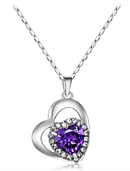 cheap -Women's Purple Crystal Pendant Necklace Heart Romantic Sweet Fashion Zircon Copper Silver Plated Silver 43 cm Necklace Jewelry 1pc For Ceremony Evening Party Formal