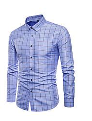 Недорогие -Муж. Большие размеры - Рубашка В клетку Синий / Длинный рукав