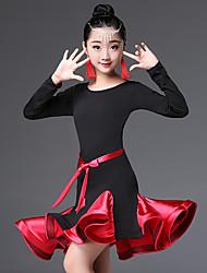 cheap -Latin Dance / Kids' Dancewear Dresses Girls' Performance Nylon Ruching / Split Joint Long Sleeve High Dress
