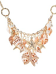 cheap -Women's Pendant Necklace Chain Necklace Starfish Shell Natural Tropical Trendy Chunky Chrome Shell Gold 46+5.5 cm Necklace Jewelry 1pc For Carnival Bikini