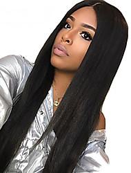 Недорогие -человеческие волосы Remy Фронтальная часть Полностью ленточные Лента спереди Парик Глубокое разделение Kardashian стиль Бразильские волосы Прямой Нейтральный Черный Парик 130% Плотность волос 10-24