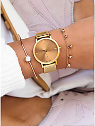 cheap -Women's Quartz Watches Antique Casual Black Silver Gold Stainless Steel Chinese Quartz Black Rose Gold Gold Water Resistant / Waterproof Cute New Design 30 m 1 pc Analog / Large Dial