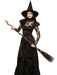cheap -Witch Dress Cosplay Costume Hat Adults' Women's Dresses Halloween Halloween Carnival Masquerade Festival / Holiday Tulle Cotton Black Carnival Costumes Patchwork